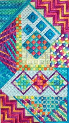 Bora Bora by Needle Delights Originals is a colorful, geometric counted needlepoint pattern Broderie Bargello, Bargello Needlepoint, Needlepoint Stitches, Needlepoint Canvases, Needlework, Cross Stitching, Cross Stitch Embroidery, Embroidery Patterns, Abstract Embroidery