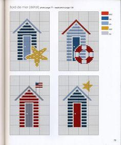ru / Фото # 69 - * Marabout - Kreuzstich am Meer - Ka - - Cross Stitch Sea, Cross Stitch House, Cross Stitch Charts, Cross Stitch Designs, Cross Stitch Patterns, Cross Stitching, Cross Stitch Embroidery, Embroidery Patterns, Le Point