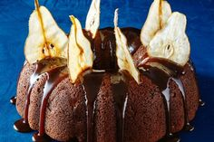 The paper-thin wafers perched atop this whisky-glazed cake create a dramatic dessert - a perfect finish to your winter dinner party. Dried Pears, Dessert Book, Spiced Pear, Almond Recipes, Cakes And More, Christmas Baking, Caramel Apples, Tray Bakes, Eat Cake