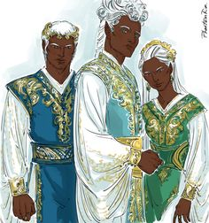 """Summer Court: Varian, Tarquin, Cresseida (""""A Court of Mist and Fury"""" by Sarah J. Maas @sjmaas) Gosh! Just love the contrast between dark skin and white hair sooo much:)))"""