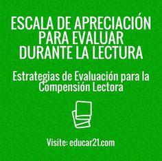 Comprensión Lectora – Escala de Apreciación para Evaluar Durante la Lectura | #Educación
