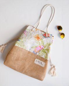 Tropical Floral Beach Bag Pink & Orange Retro by theAtlanticOcean