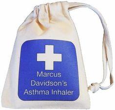 Personalised - Blue Cross Asthma Inhaler bag - TINY cotton drawstring bag -EMPTY