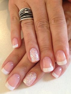 Pretty French gel with a Hollywood glitter #nails #gelnails