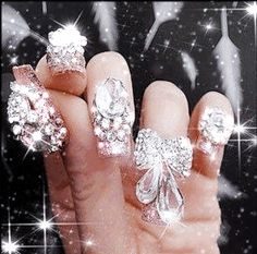 Ba-dazzle your nails today xD Fancy Nail Art, Fancy Nails, 3d Nail Art, 3d Nails, Nail Arts, 3d Nail Designs, Nails Today, Pretty Designs, Bling Wedding