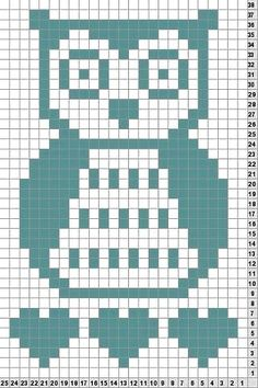 Owl knit chart- I can foresee me wanting this one day. Crochet Cowl Free Pattern, Easy Crochet Patterns, Filet Crochet, Owl Patterns, Bead Loom Patterns, C2c, Owl Baby Blankets, Crochet Blocks, Knitting Charts