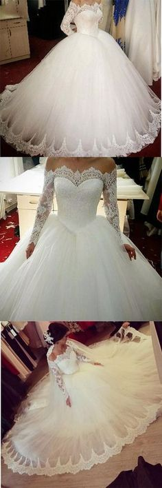 Romantic off the shoulder long sleeves Princess Bridal Gown 2018 Poofy Tulle Ball Gown Lace Wedding Dress for Bride Vestidos boda Princess Bridal, Princess Wedding Dresses, Best Wedding Dresses, Bridal Dresses, Wedding Gowns, Lace Wedding, Trendy Wedding, Vintage Princess, Wedding Vintage