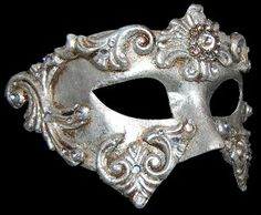 Colombina Baroque - Silver - Authentic Hand Made Venetian Mask Venetian Masks, Masquerade Masks and Colored Cloaks from VenetianMaskSociety.com #Venetian #Masquerade #Masks #Cloaks