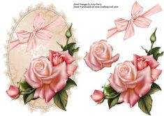 Beautiful Pink Rose topper on Craftsuprint designed by Amy Perry - Beautiful Pink Rose Topper in lovely pale pink shimmer frame with corner bow also has decoupage - Now available for download!