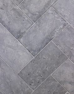 "Grey tiles prior pinner says: ""The honed gray limestone floor tiles almost feel like suede. I laid them in a chevron pattern to add movement. It gives you the feeling of having a soft rug underfoot. Limestone Flooring, Grey Flooring, Kitchen Flooring, Kitchen Tile, Kitchen Grey, Nice Kitchen, Linoleum Flooring, Gray Tile Floors, Penny Flooring"