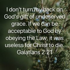 Galatians I don't turn my back on God's gift of undeserved grace. If we can be acceptable to God by obeying the Law, it was useless for Christ to die. Inspirational Scriptures, Bible Verses Quotes, Yes And Amen, Well Said Quotes, Bible Prayers, God's Grace, God Prayer, Prayer Warrior, Scripture Art