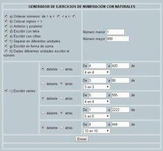 Generador de ejercicios de numeración con números naturales