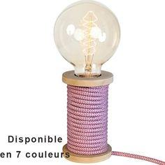 39.99€ LAMPE BOBINE ORIGINALE 7 COULEURS | KOTECAZ Deco Originale, Gaines, Decoration, Boutique, Design, Home Decor, Dusty Rose, Pink Color, Cord