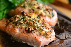 You can never go wrong with salmon for dinner and this stuffed salmon is fantastic. Baked, juicy salmon that is stuffed with an easy sun-dried tomato, spinach, and cream cheese mixture.