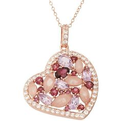 Rose Quartz & Gemstone 18k Rose Gold Over Silver Heart Pendant... ($114) ❤ liked on Polyvore featuring jewelry, necklaces, rose tone, 18k gold necklace, pendants & necklaces, silver chain necklace, sterling silver pendant and heart necklace