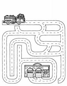 fire truck maze worksheet