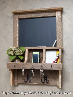 CHALKBOARD ORGANIZER, mail organizer, letter organizer would work perfectly in an entry way or kitchen. Organize yourself and leave messages