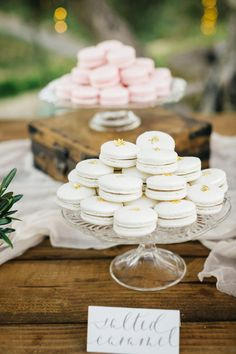 Yummy macaroon treats: http://www.stylemepretty.com/2015/09/28/romantic-malibu-vineyard-wedding/ | Photography: Jana Williams - http://jana-williams.com/