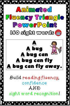 Animated fluency triangle PowerPoint for 160 sight words. Build reading fluency, confidence, and sight word recognition. Reading Fluency Activities, Kindergarten Activities, Preschool, Sight Word Practice, Fluency Practice, Rhyming Worksheet, First Grade Words, English Worksheets For Kindergarten, Reading Task Cards