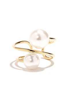 Spiraled Glam Gold Pearl Ring at Lulus.com!