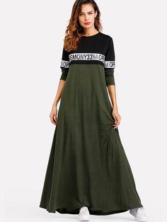 51aeeb4162 Two Tone Zip Up Front Drawstring Dress -SheIn(Sheinside) New Ladies Dress,