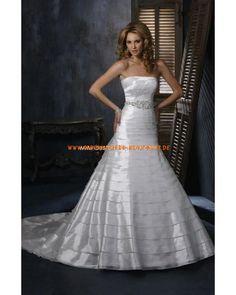 Schlichte moderne Brautkleider günstig aus Satin A-Linie mit Schleppe