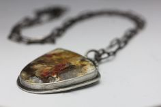 Regency Rose Plume Agate & Sterling Necklace, Plume Agate Pendant, Red Pink…