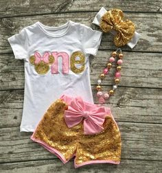 Boutique rosa oro Minnie Mouse uno dos cumpleaños por SixPrincesses