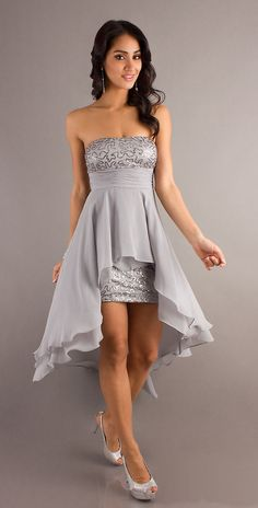 Popular High Low Silver Cocktail Semi Formal Dress Strapless $117.99