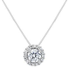 #WomensGifts 14K Solid White Gold Round Cut Cubic Zirconia Solitaire Pendant Necklace (1.0 ct center, 1.24 cttw), 18 inch .60mm Box Link…