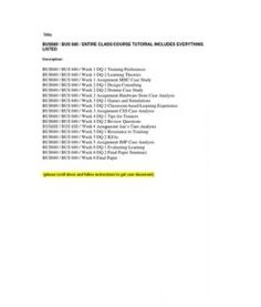 BUS680 / BUS 680 / ENTIRE CLASS/COURSE TUTORIAL INCLUDES EVERYTHING LISTED
