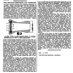 storia dell' audiologia, audiology history, histoire de l'audiologie The Mallock-Armstrong Ear Defender - Londra 1914