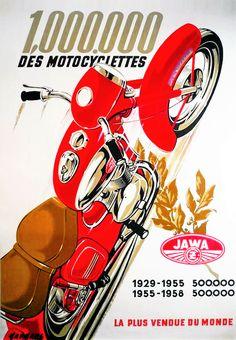 JAWA Bike Poster, Motorcycle Posters, Car Posters, Motorcycle Art, Motorcycle Design, Bike Art, Retro Advertising, Vintage Advertisements, Vintage Ads