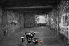 Auschwitz Gas Chamber   by Anik Messier   Workspace__25 commented: standing here in january after walking through the door, turning right into the undressing room, and then turning left into this room, walking up to the barricade... simply the most emotional moment of my life, just standing there. to think that so many people faced death this way, at the very spot you were standing on.... thank you for posting.