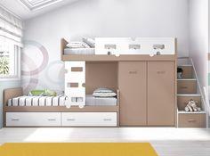 Dormitorio juvenil tipo tren formado por 2 camas para colchón de 90 x 190 cm, armario y escalera lateral.  Más muebles en www.hiper-mueble.com