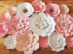 Set of 15 Large Paper Flowers Pink White by DreamEventsinPaper