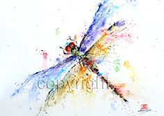 DRAGONFLY Watercolor print by Dean Crouser, via Etsy.