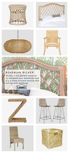 A bohemian-style room comes to life with tropical wallpaper and wicker accents. Shop this look at lowes.com. #boho #headboard #chairs #lighting