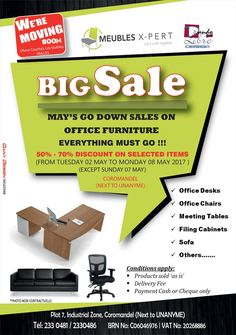 Dando Pub Ltd / Meubles X-Pert Ltd: Big CLEARANCE SALES. Tel: 233 0481 / 233 0486 / 233 0489