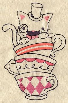 Mr. Whiskers' Tea Party | Urban Threads: Unique and Awesome Embroidery Designs