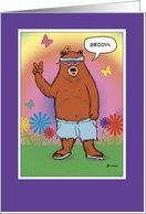 Funny birthday card: Hippie Bear Day Card by Greeting Card Universe. $3.00. 5 x 7 inch premium quality folded paper greeting card. Find birthday cards for everyone on your list at Greeting Card Universe. We have everything from custom cards to professionally designed cards. Look no further than Greeting Card Universe for your birthday card needs. This paper card includes the following themes: funny hippie card, funny bear card, and bear cartoon. Greeting Card Universe of...