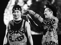 Taeyang and GD  haha he's like: ohhhh you have new hair!!  I'm going to touch it... and did I mention that I'm proud it's a new color?! :D