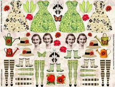 4 fées de jardin vintage poupées - Instant Digital Sheet imprimable de papier