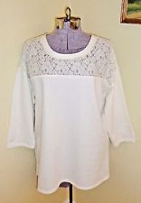 Women's Size XL Ivory Shirt Blouse Top Lace Inset Silverwear