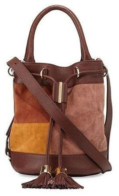 See by Chloe Vicki Patchwork Drawstring Bucket Bag, Chocolate/Brown  https://api.shopstyle.com/action/apiVisitRetailer?id=512052489&pid=uid8721-33958689-52