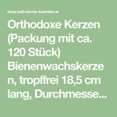 Orthodoxe Kerzen (Packung mit ca. 120 Stück) Bienenwachskerzen, tropffrei 18,5 cm lang, Durchmesser 8 mm Kirchen, Math, Math Resources, Mathematics