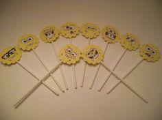 10 Spongebob Squarepants Cupcake Toppers - 6 inch Sticks - Children's Birthday Party Supplies. $2.00, via Etsy.