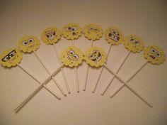 10 Spongebob Squarepants Cupcake Toppers - 6 inch Sticks - Children's Birthday Party Supplies. $2.00, via Etsy.
