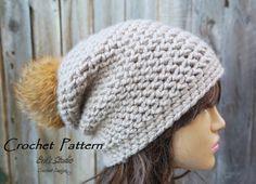 Crochet Hat - Slouchy Hat, Crochet Pattern PDF,Easy