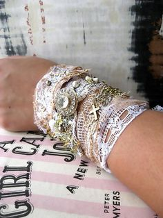 Strips of lace for a new twist on stacked bracelets. #armparty #lovelylace